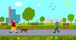 Tekening van mensen in groengebied